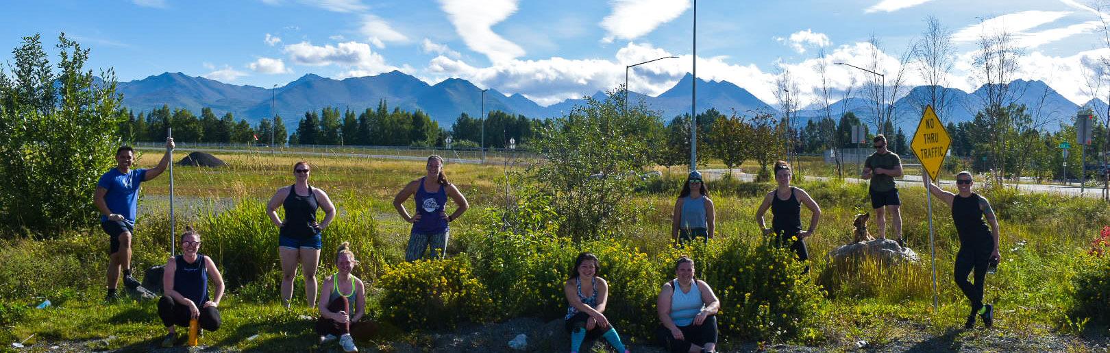 CrossFit Alaska members outdoors after a hard workout.